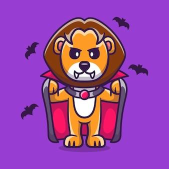 Süßer löwe im vampir-halloween-kostüm