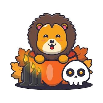 Süßer löwe in halloween-kürbis süße halloween-karikaturillustration