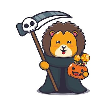 Süßer löwe sensenmann, der halloween-kürbis hält süße halloween-cartoon-illustration