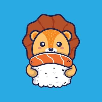 Süßer löwe umarmt sushi-cartoon-illustration