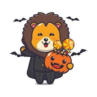 Süßer löwe vampir, der halloween-kürbis hält süße halloween-karikaturillustration