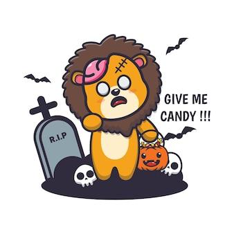 Süßer löwenzombie will süßigkeiten süße halloween-karikaturillustration