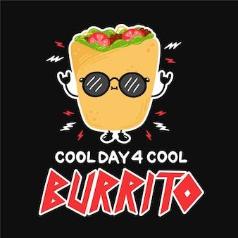 Süßer lustiger burrito mit sonnenbrille