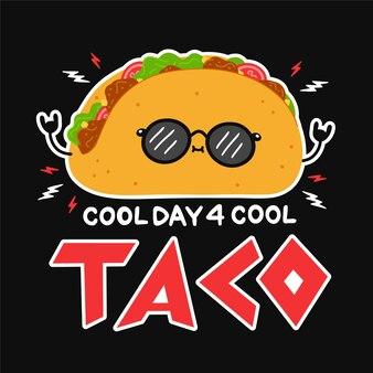 Süßer lustiger taco mit sonnenbrille