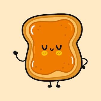Süßer lustiger toast mit erdnussbutter-charakter