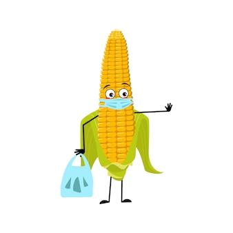 Süßer maiskolben-charakter mit traurigen emotionen gesicht und maske halten abstand hände mit einkaufstasche und st...