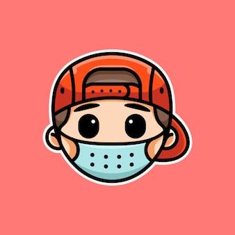 Süßer mann für symbolaufkleber-logo und illustration