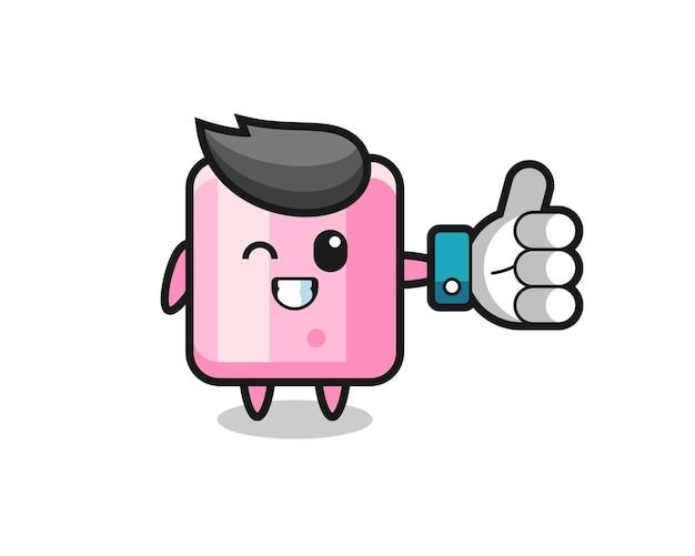 Süßer marshmallow mit social-media-daumen hoch symbol, süßes design für t-shirt, aufkleber, logo-element