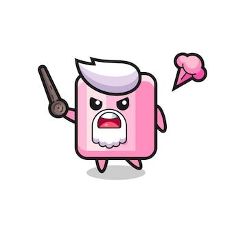Süßer marshmallow-opa wird wütend, süßes stildesign für t-shirt, aufkleber, logo-element