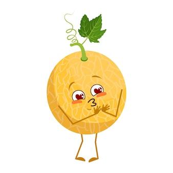 Süßer melonencharakter verliebt sich in augenherzen, gesicht, arme und beine