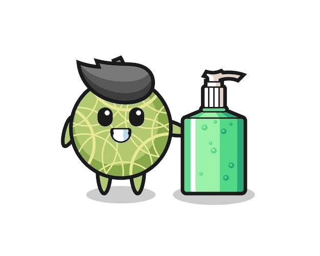 Süßer melonenfrucht-cartoon mit händedesinfektionsmittel, süßes design für t-shirt, aufkleber, logo-element