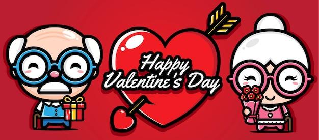 Süßer opa und süße oma mit fröhlichen valentinstagsgrüßen