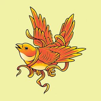 Süßer orange vogel