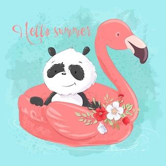 Süßer panda auf einem aufblasbaren kreis in form eines flamingos, illustration im cartoon-stil