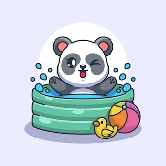 Süßer panda, der in einem aufblasbaren pool spielt