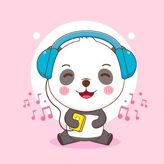 Süßer panda, der musikkarikatur hört