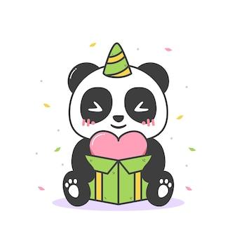 Süßer panda hält eine schachtel herz