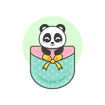 Süßer panda in der tasche