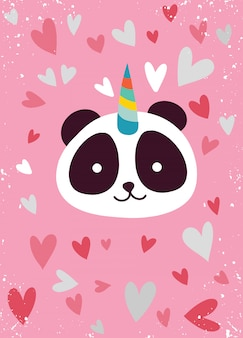 Süßer panda mit einhornhorn