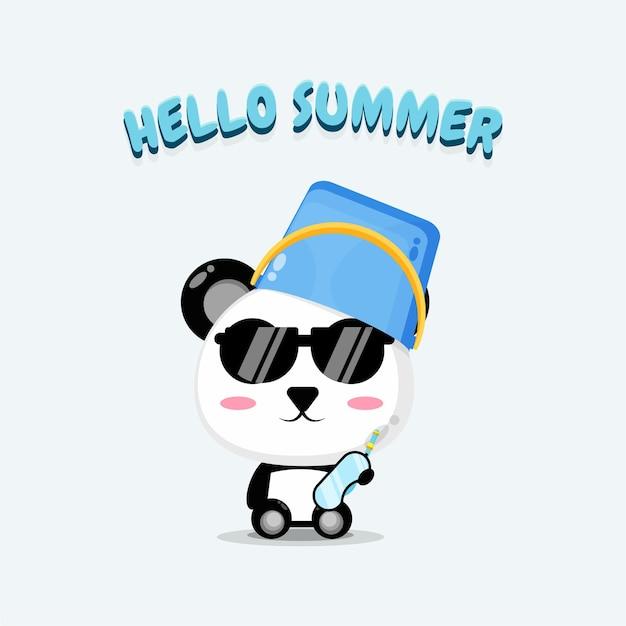 Süßer panda mit fischerhut mit sommergrüßen