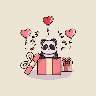 Süßer panda mit valentinstag geschenkbox