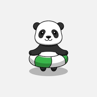 Süßer panda schwimmt mit einer boje