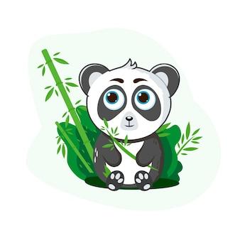 Süßer panda. sitzen mit bambus. für kinder. vektorillustration des lokalisierten weißen hintergrundes.