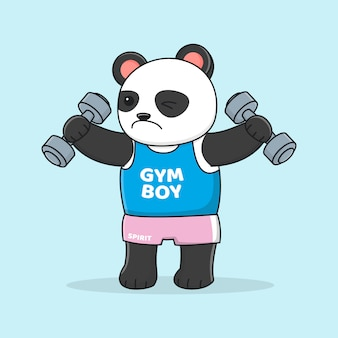 Süßer panda trainiert mit hantel