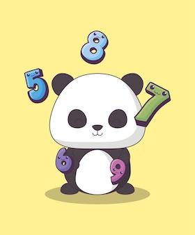 Süßer pandabär mit zahlen kawaii charakter