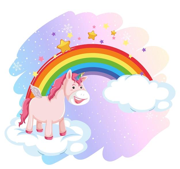 Süßer pegasus am pastellhimmel mit regenbogen