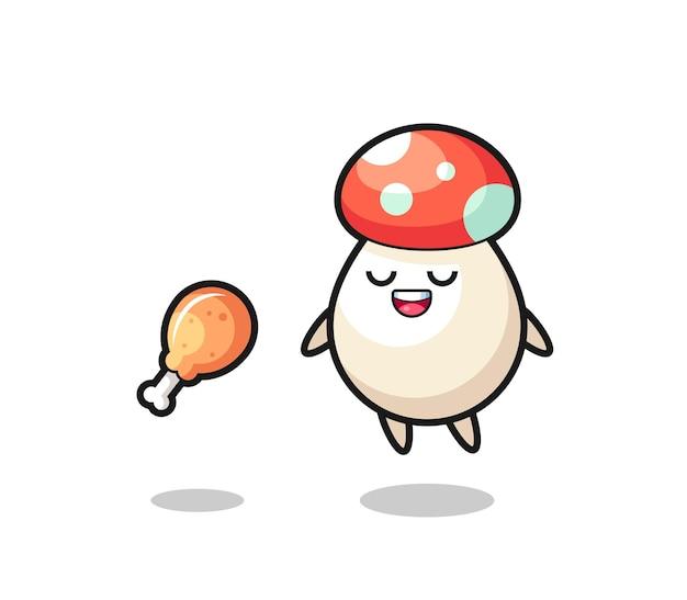Süßer pilz, der wegen gebratenem hühnchen schwimmt und versucht, süßes design für t-shirt, aufkleber, logo-element
