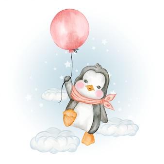 Süßer pinguin, der mit luftballons fliegt
