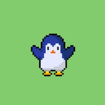 Süßer pinguin im pixel-art-stil