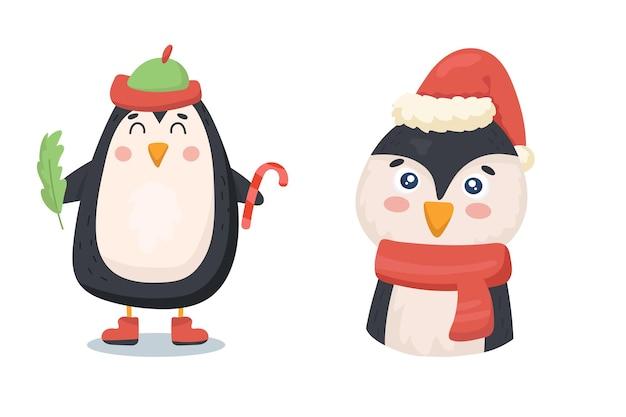 Süßer pinguin in weihnachtskleidung mit zuckerrohr