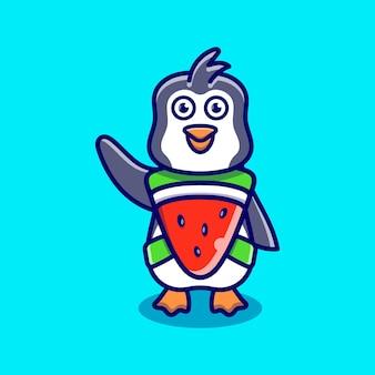 Süßer pinguin trägt kostüm wassermelone