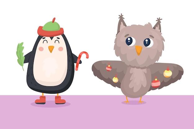 Süßer pinguin und eule bereiten sich auf das neue jahr vor