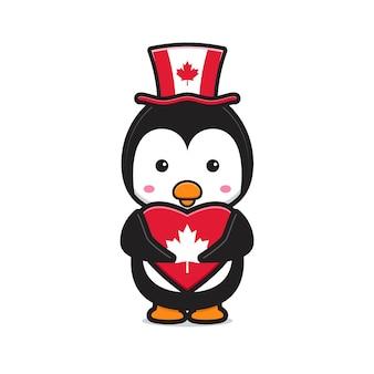 Süßer pinguincharakter feierte kanada-tagesillustration