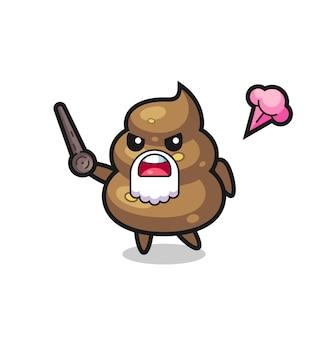 Süßer poop-opa wird wütend, süßes stildesign für t-shirt, aufkleber, logo-element