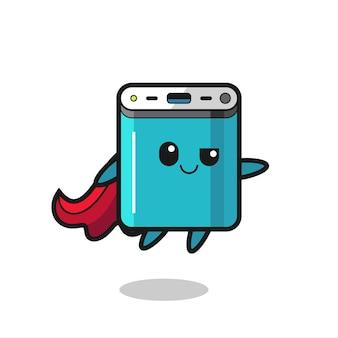 Süßer powerbank-superhelden-charakter fliegt, süßes stildesign für t-shirt, aufkleber, logo-element