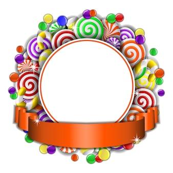 Süßer rahmen von roten und weißen bonbons mit orangefarbenem band. illustration