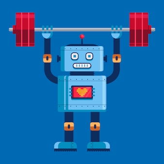 Süßer roboter hebt die hantel im vollen wachstum. niedliche charakter-vektor-illustration