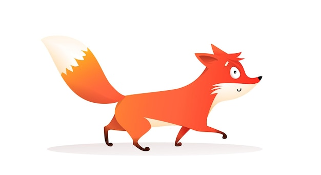 Süßer roter fuchs, der lustiger cartoon für kinder eines wilden fuchsjunges mit buschigem schwanz in bewegung geht