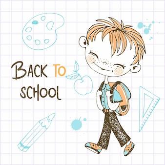 Süßer rothaariger junge mit schulrucksack geht zur schule. zurück zur schule. vektor.