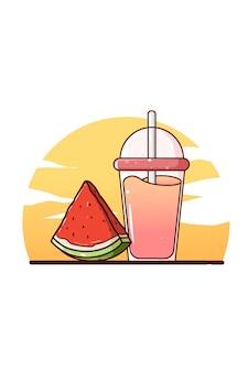 Süßer saft und wassermelonen-karikaturillustration