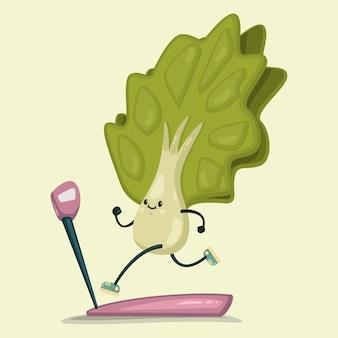 Süßer salat, der übungen auf einem laufband macht. isoliert auf hintergrund. gesund essen und fit.
