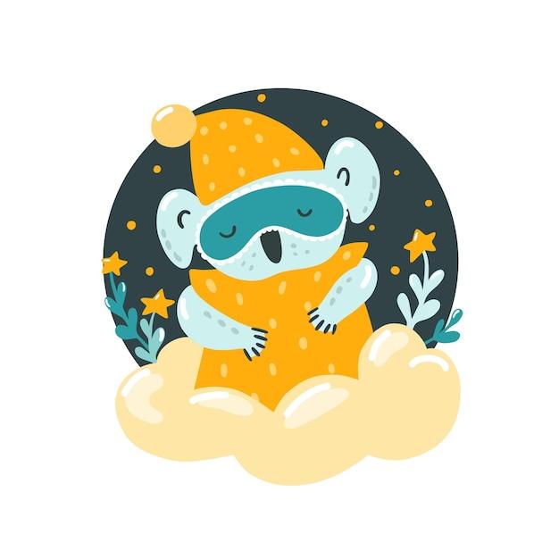 Süßer schlafender koala auf einer wolke mit einem kissen. gute nacht. kinderzimmerdekoration. der aufkleber.