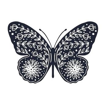 Süßer schmetterling mit ornament-hintergrund-cover-design zum ausmalen von schmetterling mit blume Premium Vektoren