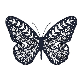 Süßer schmetterling mit ornament-hintergrund-cover-design zum ausmalen von schmetterling mit blume