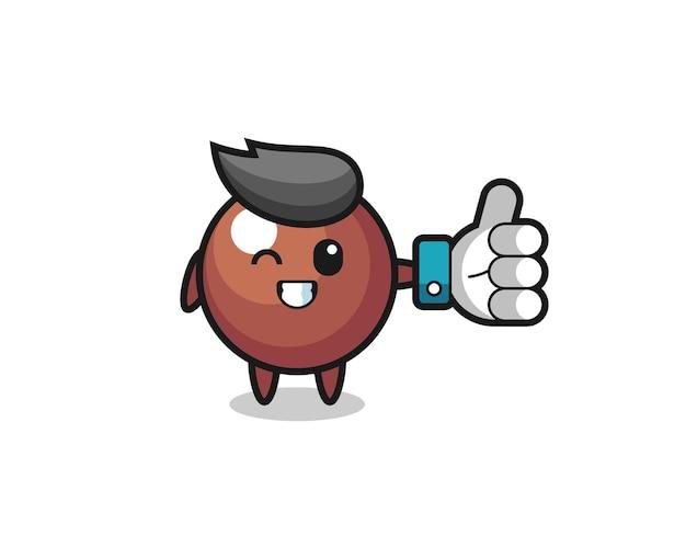 Süßer schokoladenball mit social-media-daumen hoch symbol, süßes stildesign für t-shirt, aufkleber, logo-element