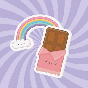 Süßer schokoriegel und kawaii charaktere der süßigkeiten